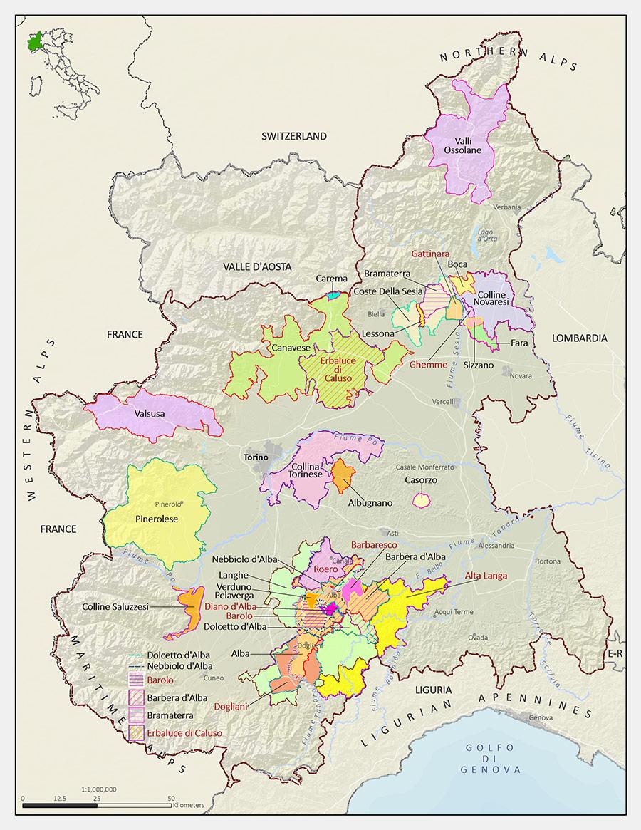 Italian Wine Maps Langhe in Piedmont