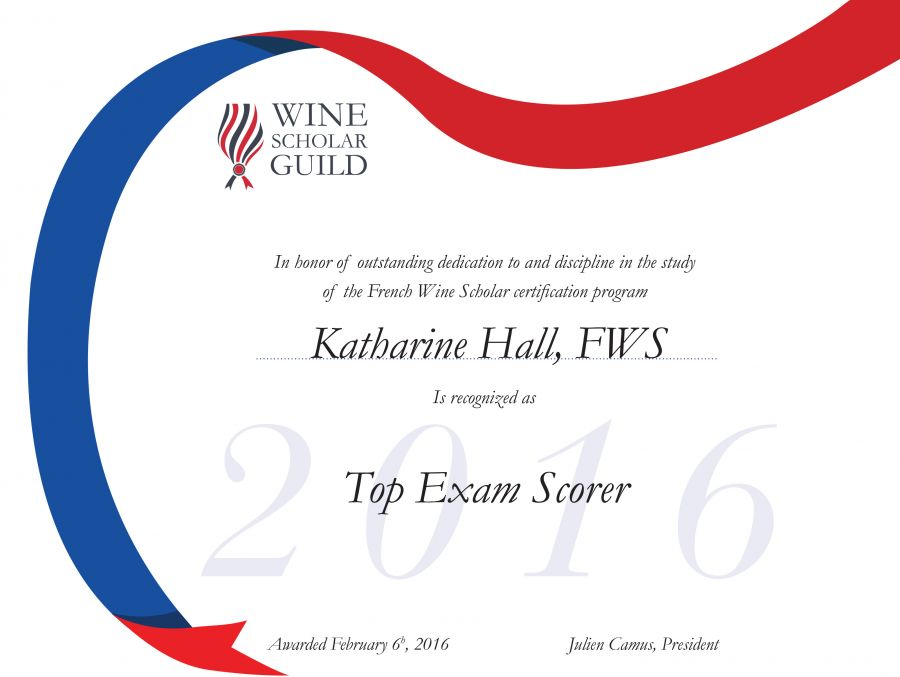 Wine Scholar Guild Top Exam Scorers for 2016