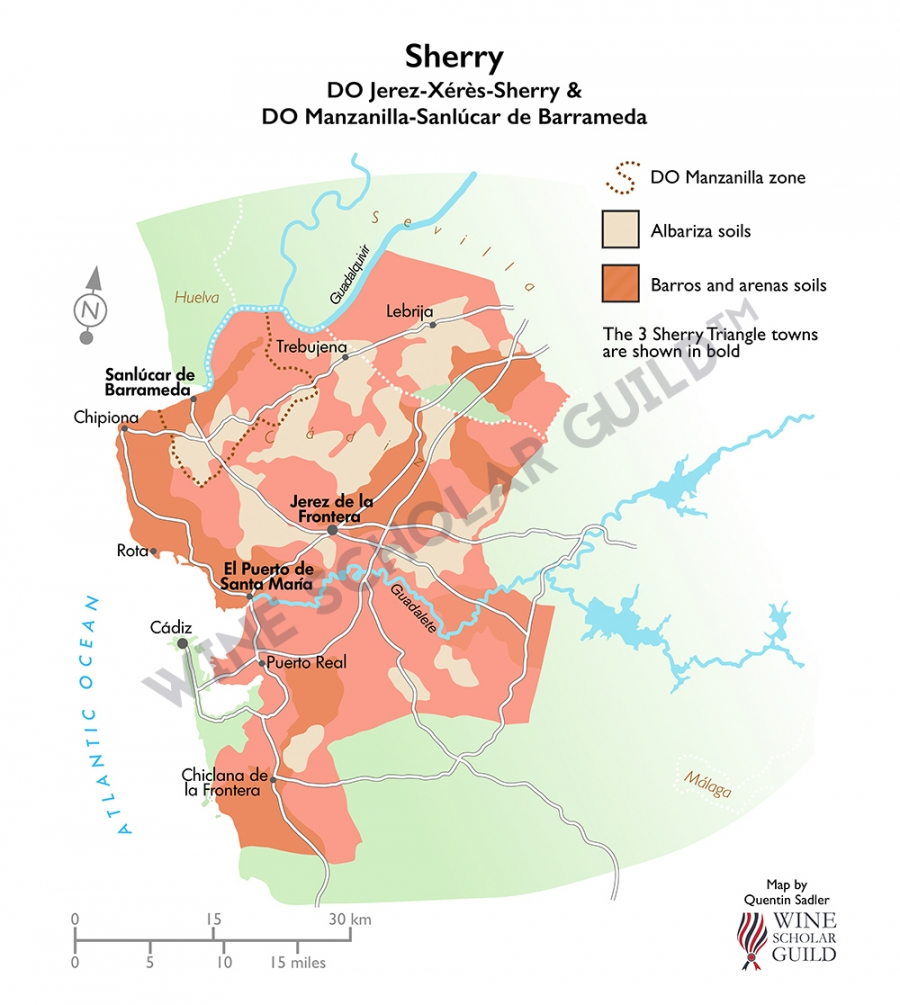 Sherry Wine Map (PDOs)
