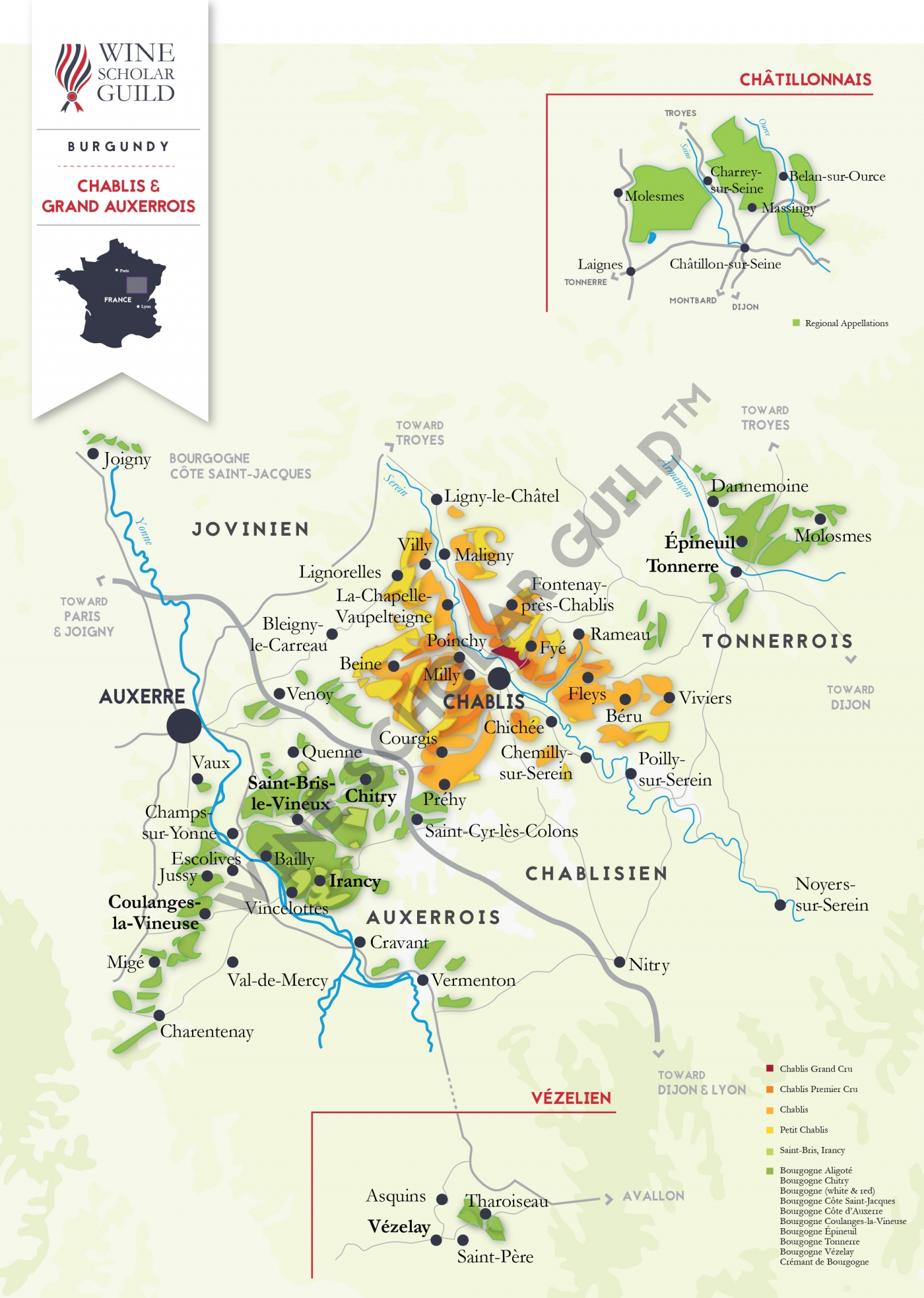 Bourgogne - Chablis Wine Map