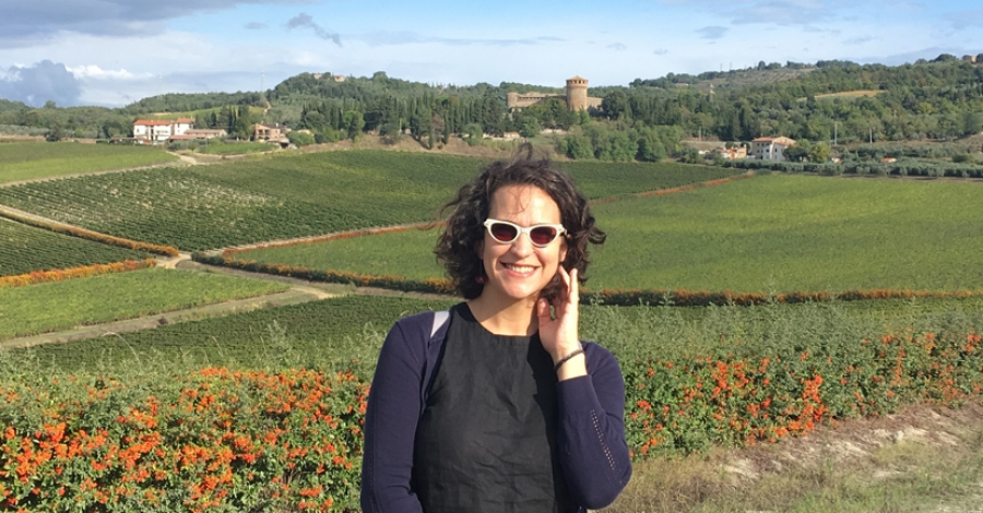 Ms Morning Star Darling is pictured in front of iconic Castello della Sala in the Orvieto wine growing region (photo credit: Massimiliano Pasolini, vineyard manager, and winemaker at Castello della Sala)