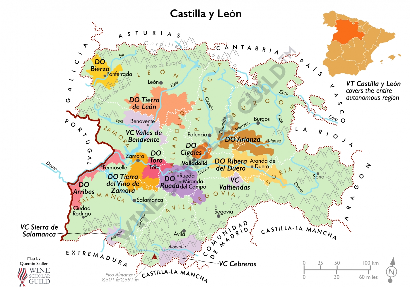 Castilla y León Wine Map