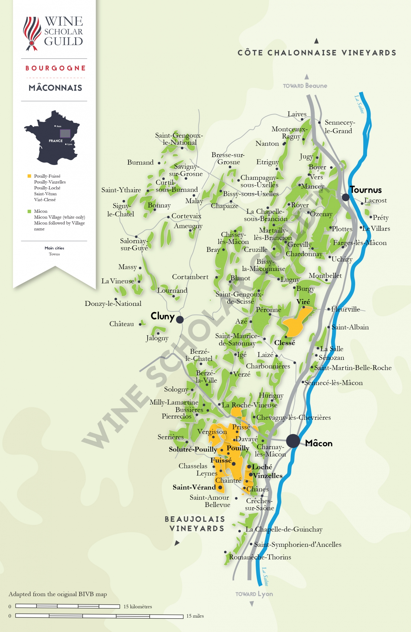 Bourgogne - Maconnais Wine Map