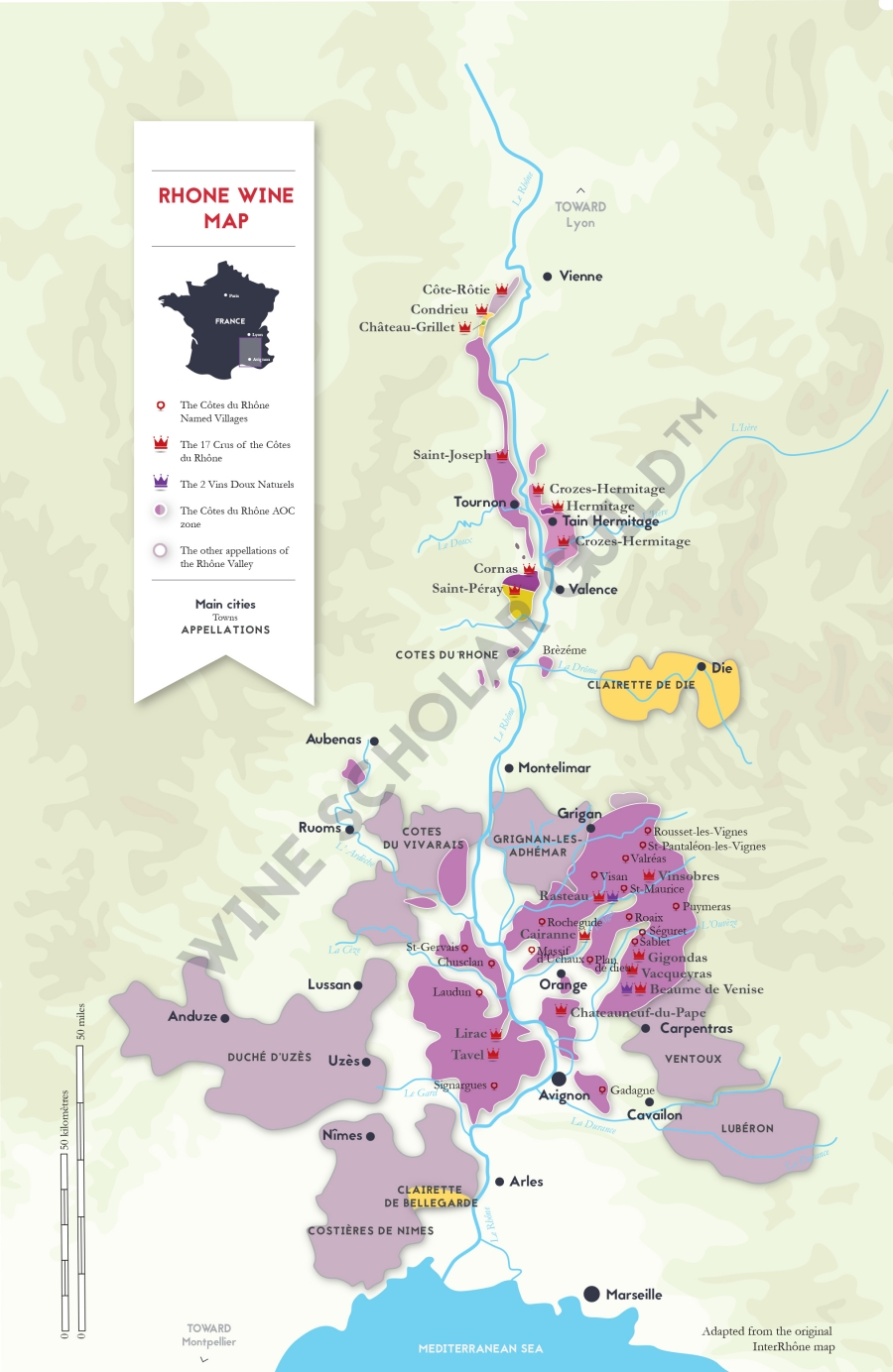Rhone Valley Wine Map